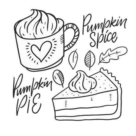 Pumpkin spice and Pumpkin pie. Line art black color. Иллюстрация