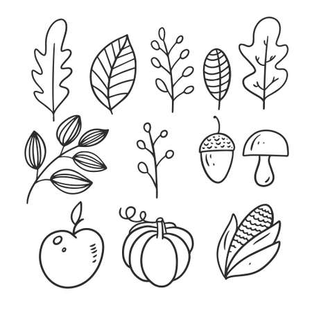 Pumpkin, apple, mushroom, nut and leaves. Black color vector illustration. Archivio Fotografico - 158883092