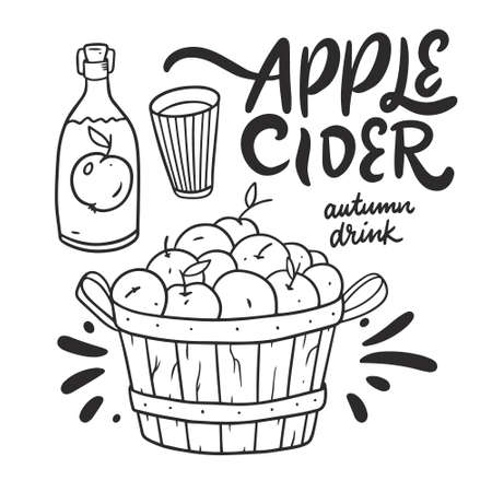 Apple cider. Black color line art vector illustration.