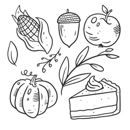 Food autumn set elements. Black color. Hand drawn line art. Archivio Fotografico - 158882965