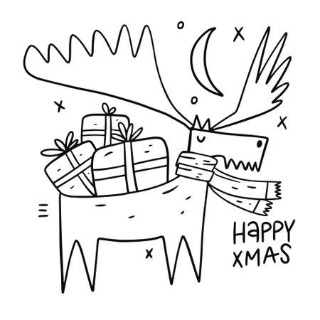 Deer with gifts. Merry christmas card. Outline draw style.