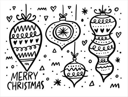 Christmas balls set. Black and white vector illustration. Doodle style.