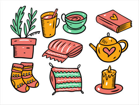 Hygge and cozy home set objects. Hand drawn doodle style.