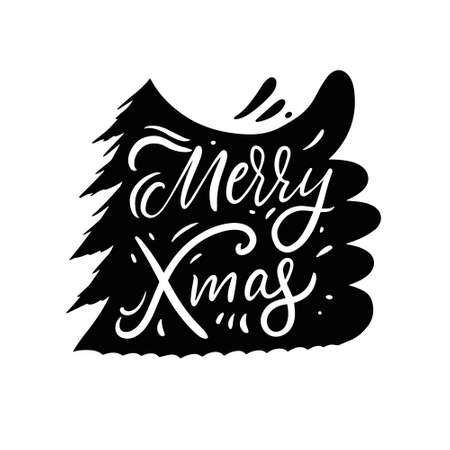 Merry Christmas phrase and christmas tree. Black and white colors. Vettoriali