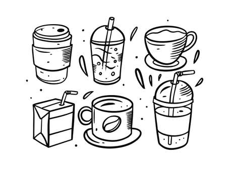 Drinks hand drawn black color. Doodle style vector illustration.