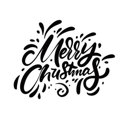 Merry Christmas black color calligraphy. Holiday phrase.