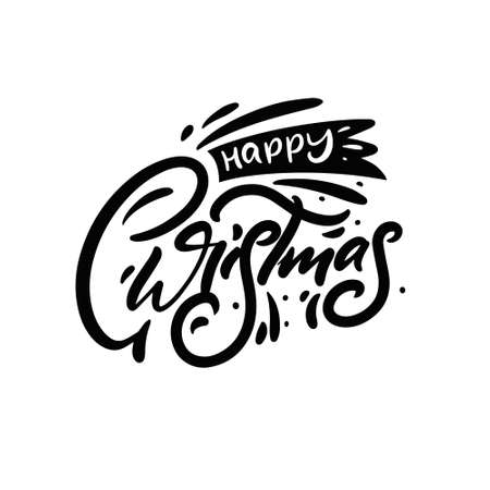 Black and white color lettering. Happy Christmas. Holiday quote.