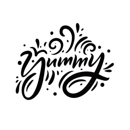 Yummy black phrase. Hand drawing modern calligraphy. Black and white lettering.