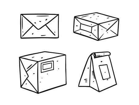 Hand draw package set. Doodle vector illustration.