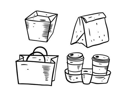 Food and drink package set. Hand draw vector illustration.