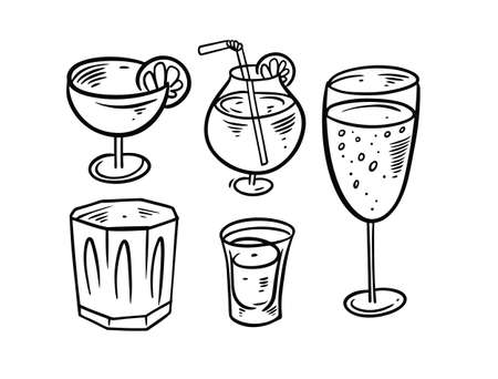 Hand draw black and white drinks set. Doodle style vector illustration.