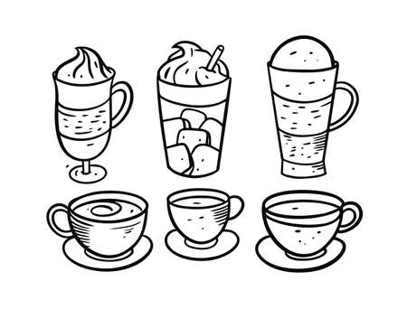 Drinks and coffee set. Hand drawing black color. Doodle style vector illustration.