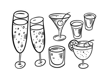 Alcohol drinks objects set. Black color doodle elements.