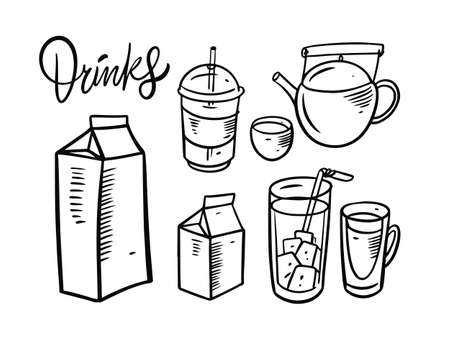 Drinks elements set. Doodle style. Teapot, milk, juice and more drinks