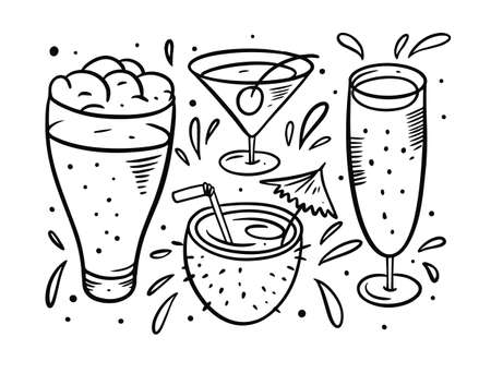 Hand drawing black color. Beer and cocktails illustration set. Vector style. Vettoriali