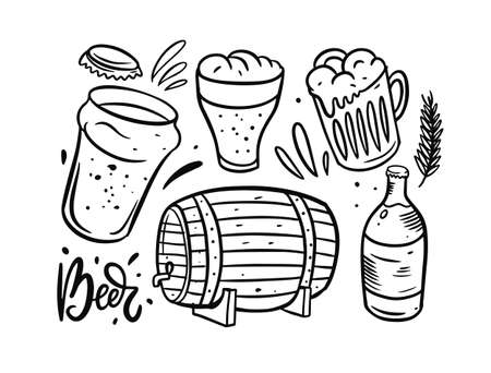 Beer objects set. Doodle vector illustration. Hand drawn style.