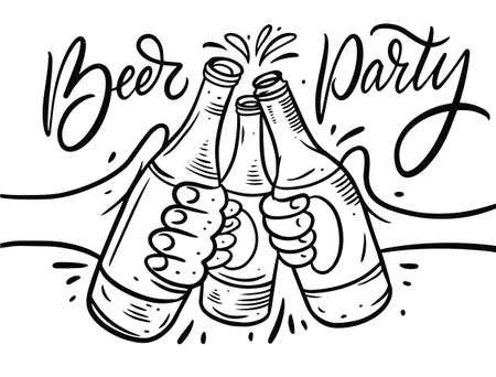 Beer Cheers. Beer party text. Hand drawn black color vector illustration. Vettoriali