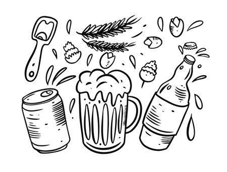Beer elements set. Hand drawn black color doodle. Vector illustration.