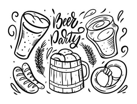Beer party vector composition. Hand drawn black color vector illustration.