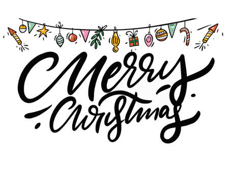 Merry Christmas lettering black color. Decor elements.