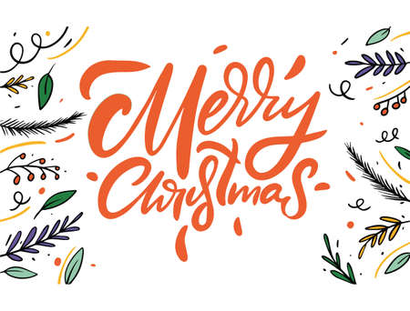 Merry Christmas red type lettering. Decor elements. Vector illustration.