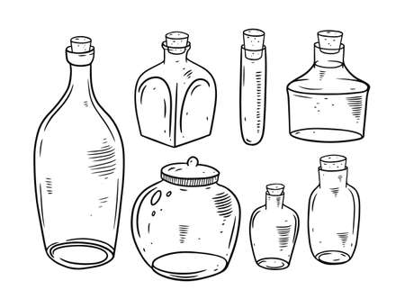 Bottles and Jars. Engraving style. Black and white colors. Vettoriali