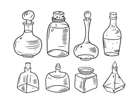 Hand drawing doodle jars set. Black and white colors.