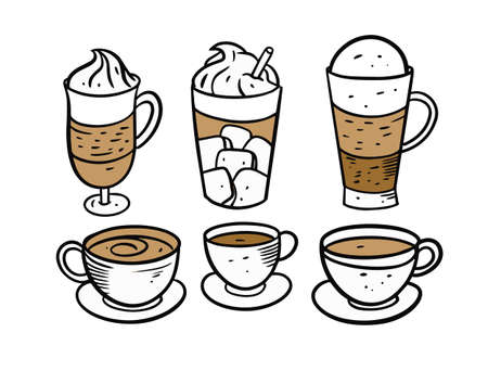 Coffee cups and mugs set. Colorful vector illustration.