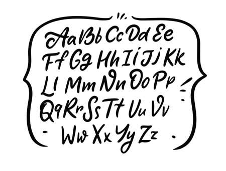 Alphabet words set. Hand drawing script font. Modern calligraphy.