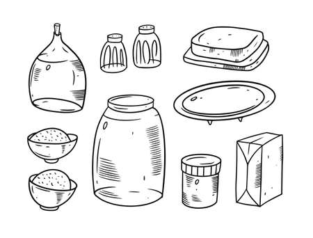 Hand drawing breakfast set. Doodle black and white colors.