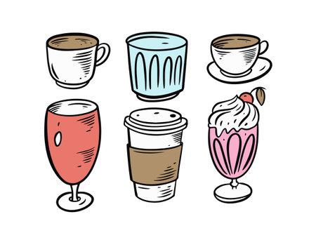 Drinks mugs set. Colorful cartoon style. Vector illustration. Vettoriali