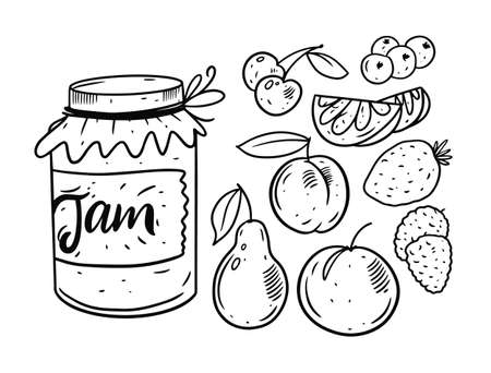 Fruits Jam in jar. Hand drawing doodle set elements. Black and white colors.