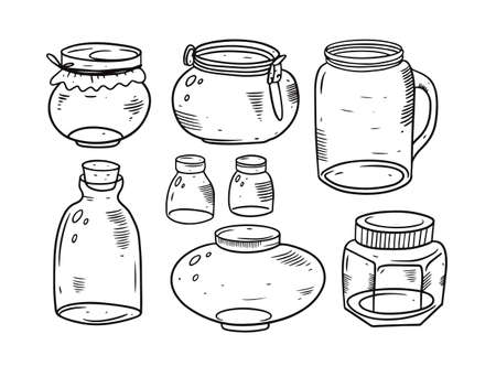 Hand drawing glass jars set. Black and white colors.