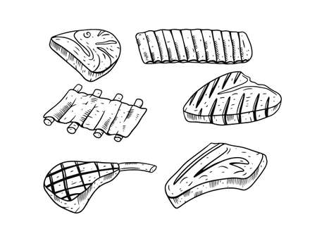Beef meat steak set. Engraving style. Hand drawing black and white colors. Vettoriali