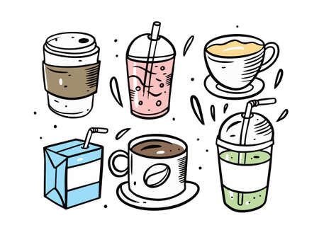 Drinks cups and mugs. Cartoon doodle style elements.