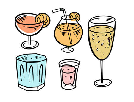Colorful cocktails drinks set. Hand drawing vector illustration. Vettoriali