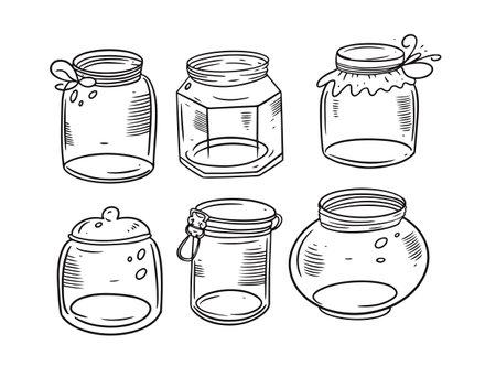 Engraving black and jars set. Hand drawing vector illustration.