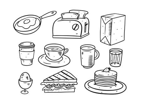 Breakfast doodle elements set. Hand drawing vector illustration. Cartoon style. Vettoriali