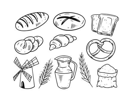 Bakery elements set. Hand drawing black and white colors. Vettoriali