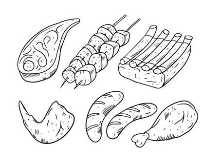 Meat for bbq. Hand drawing vector illustration. Engraving style.