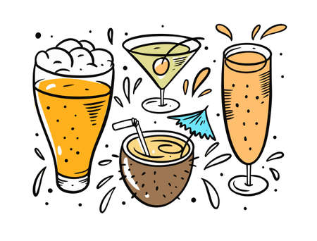 Beer and cocktails set. Cartoon doodle style.