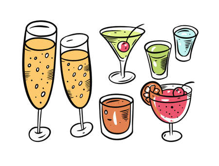 Champagne and cocktails set. Cartoon doodle style