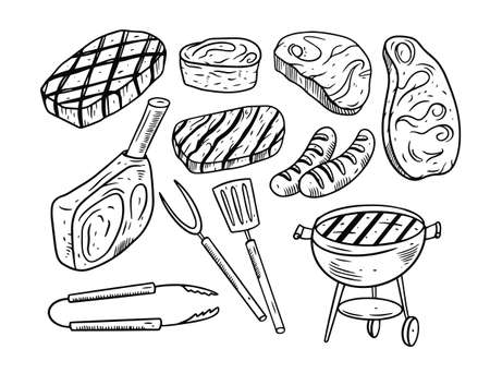 BBQ doodle elements set. Hand drawing black and white colors. Engraving style.
