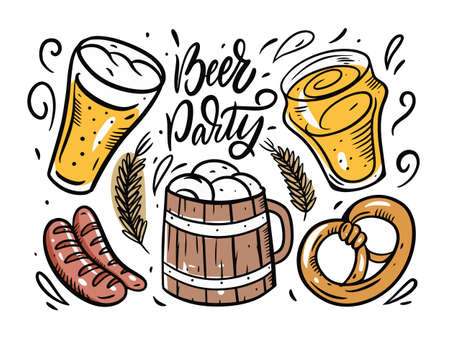 Beer Party elements. Doodle hand drawing style.