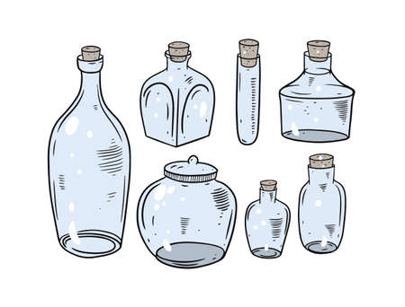 Colorful glasses jars collection. Engraving vector illustration. Vettoriali