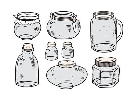 Glasses jars set. Engraving vector illustration. Outline sketch style.