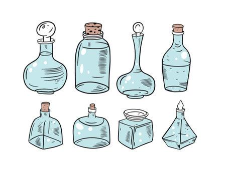 Blur colorful glass jars set. Hand drawing vector illustration.
