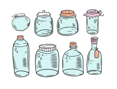 Jars hand drawing vector illustration. Outline sketch style. Vettoriali