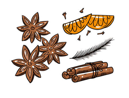 Mulled wine spiced. Engraving style. Colorful vector illustration. Vettoriali