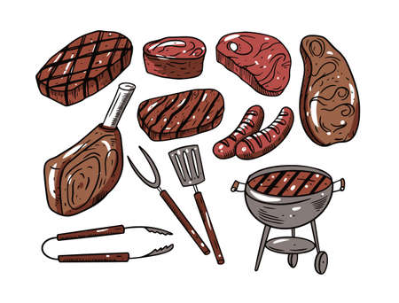 BBQ meat hand drawing. Engraving colorful style. Outline vector illustration.